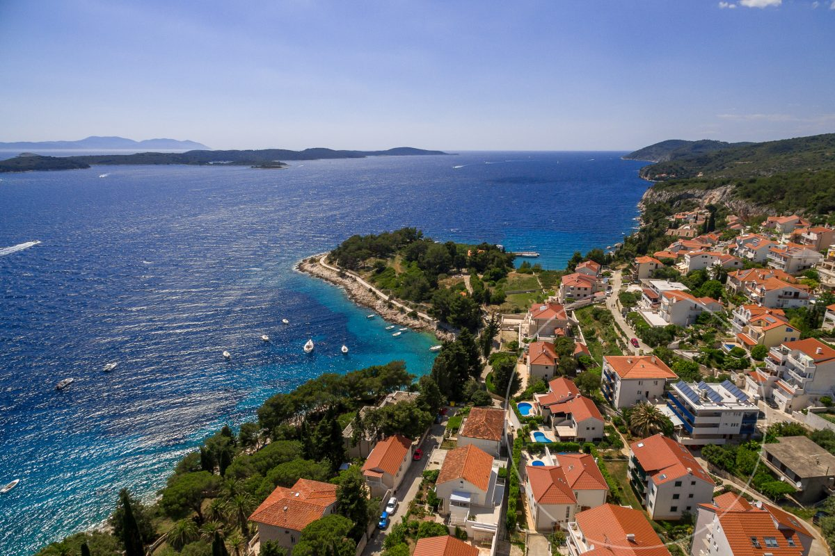 Drone view of villa Dane and picturesque front bay in Hvar