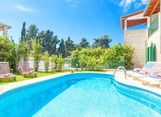Kidney shaped pool in front of Villa Dane