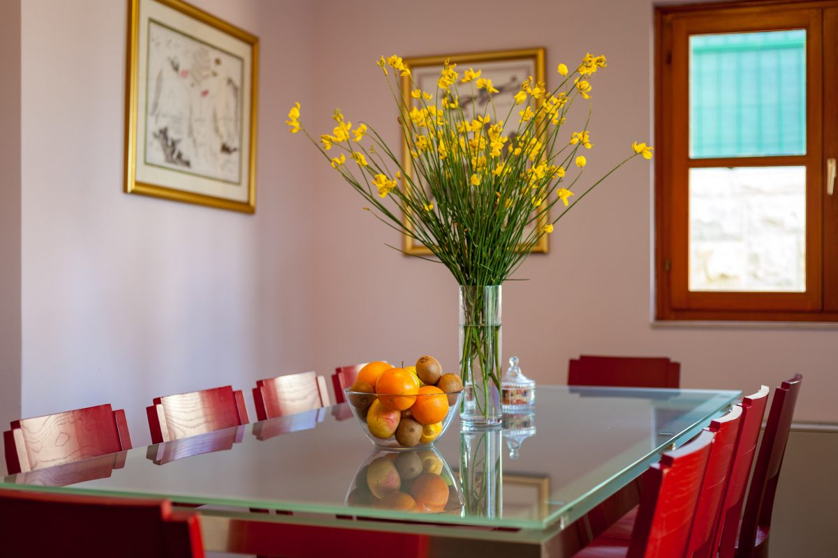 Dining table on the ground floor at Villa Dane