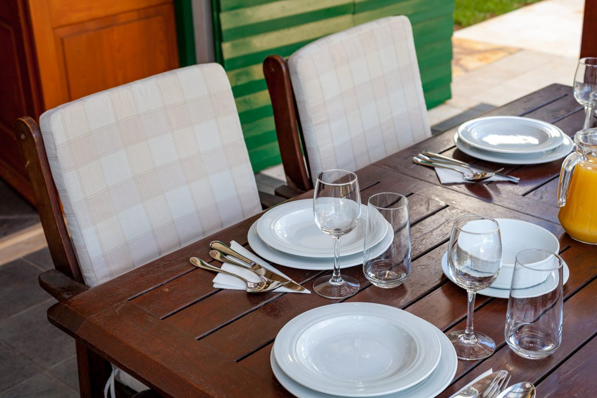 Served outdoor dining table